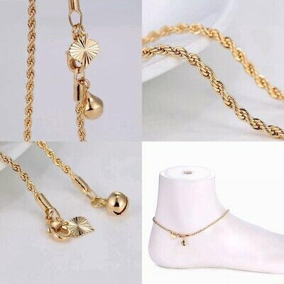 """£5.99 • Buy 9K 9ct Yellow""""GOLD FILLED  Ladies Bell Charm ANKLE Rope Thick Chain Anklet10.3"""