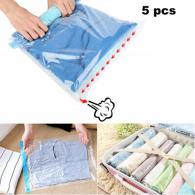 £5.69 • Buy 5pcs Travel S Roll Up Vacuum Storage Bags Sealable Compress Luggage Storage Bags