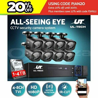 AU227.99 • Buy UL-tech CCTV Security System Camera 8CH 4CH DVR HD Outdoor Waterproof 1080P