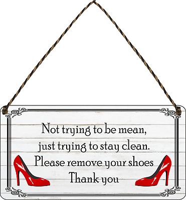 £5.99 • Buy Please Remove Your Shoes Shabby Shoes Plaque Sign Chic Home Gift Take Off Clean