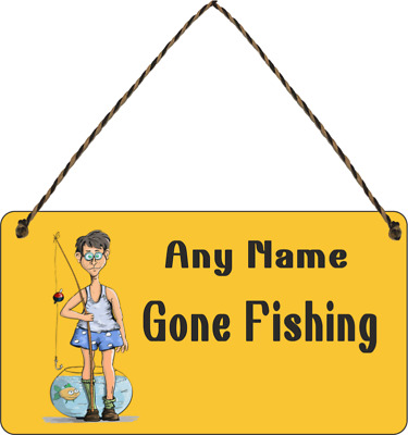 £7.49 • Buy Personalised Custom Gone Fishing Fisherman Wall Hanging Gift Plaque Sign