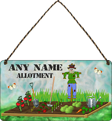 PERSONALISED Allotment Sign ANY NAME Garden Signs Hanging Plaque Shed Sign Gifts • 7.49£