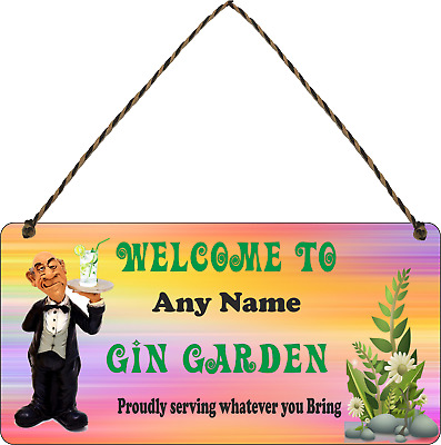 Personalised Garden Backyard Bar Allotment Shed Gin Plaque Sign Alcohol Flowers  • 7.49£