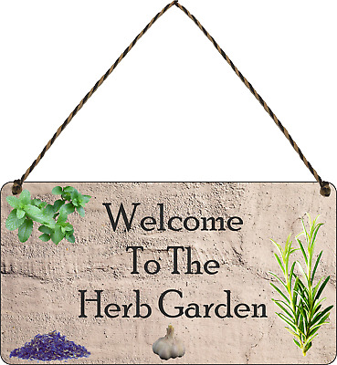 Welcome To The HERB GARDEN Sign Allotment Home Hanging Sign Garden Gifts Shed • 5.99£