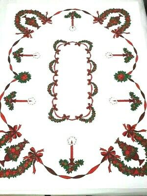 $ CDN16.98 • Buy Vintage Christmas Tablecloth With Candles, Berries, Ribbons & Christmas Motifs