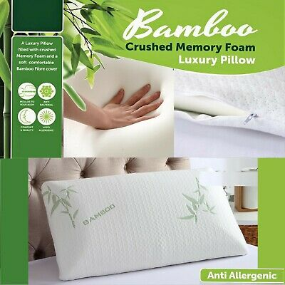 New Bamboo Memory Foam Pillow, Anti-bacterial Orthopaedic Head Neck Back Support • 10.49£