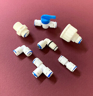 1/4  Push Fit Pipe Fittings RO Reverse Omsosis Assorted Water Filter ,fridge  • 1.99£