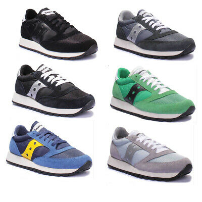 Saucony Jazz Original Mens Suede Blue And Silver Fabric Trainers UK Size 3 - 8 • 45.03£