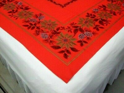 $ CDN23.05 • Buy Vintage Bright Red Christmas Tablecloth Prints Of Poinsettias, Holly, Pine Gold