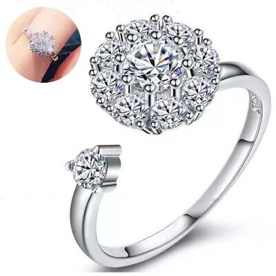 Women's Crystal Anti-Anxiety Adjustable Open Spinning Ring Rotating • 2.18£