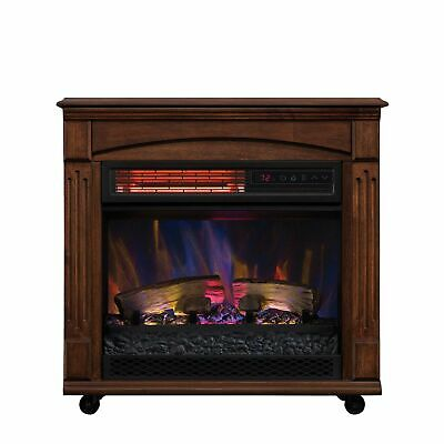 $106.65 • Buy Rolling Mantel Infrared Quartz Electric Fireplace Space Heater Remote Control