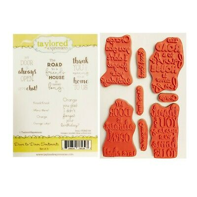 Door To Door Sentiments Rubber Stamp Taylored Expressions Words Cling Stamps • 17.75$