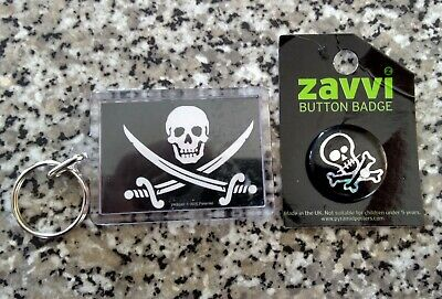 Skull And Cross Bones Keyring And Badge. [ 2 ] • 3.99£