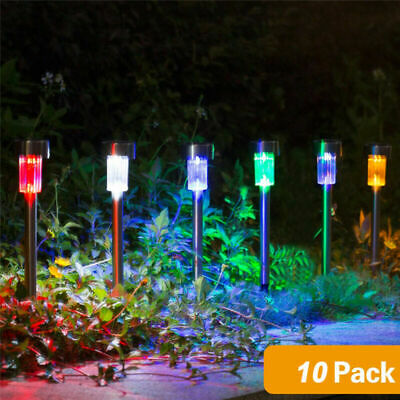10x COLOUR CHANGING STAINLESS STEEL SOLAR LED GARDEN PATIO POST OUTDOOR LIGHTS • 12.99£