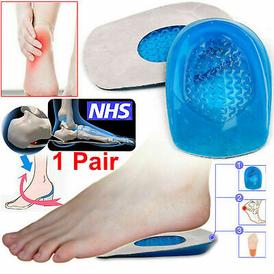 Gel Heel Cushions Orthotic Heel Support Pad Pain Relief Foot Cup Shoe Insoles UK • 2.38£