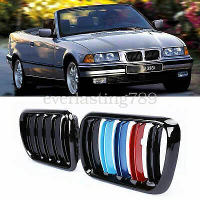 $24.29 • Buy BMW E36 3-series FRONT GRILLE Dual Slat KIDNEY Gloss BLACK M-COLOR 97-99