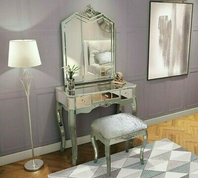 £244.99 • Buy Mirrored French Style Dressing Table Shabby Chic Silver Bedroom Furniture Glass
