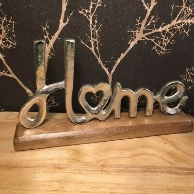 Freestanding Silver Coloured Metal Home Sign On A Wooden Block Ornament • 19.55£