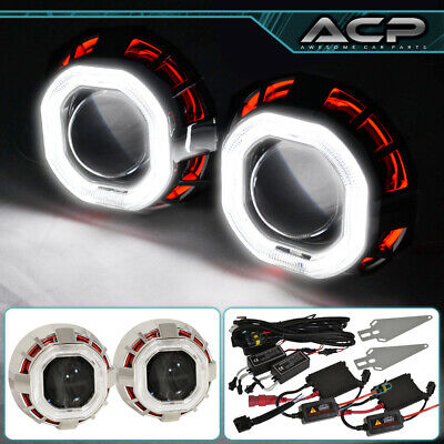 $ CDN108.86 • Buy For Lexus Mini Retro Fit Projector Headlight 2.5  H1 Ccfl Halo Ring Red White