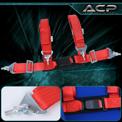 $ CDN35.31 • Buy 1X 4 Point Red Nylon Racing Harness Safety Seat Belt 2  Buckle Strap Universal