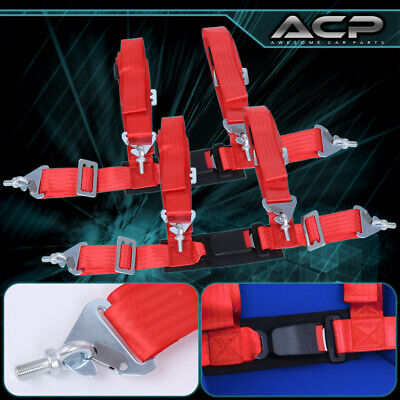 $ CDN62.48 • Buy 2X 4 Point Red Nylon Racing Harness Safety Seat Belt 2  Buckle Strap Universal