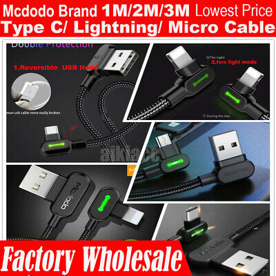AU13.99 • Buy Wholesale Lot Mcdodo Led Right Angle Iphone Type-C Micro-USB Charging Cable
