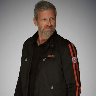 Grandprix Originals Mens Racing Jacket Black & Orange Gulf Logo • 103.50£