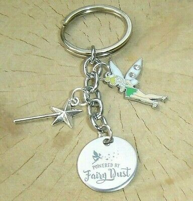 £3.99 • Buy Tinkerbell Powered By Fairy Dust Charms Keyring Keychain In Gift Bag Magic Wand