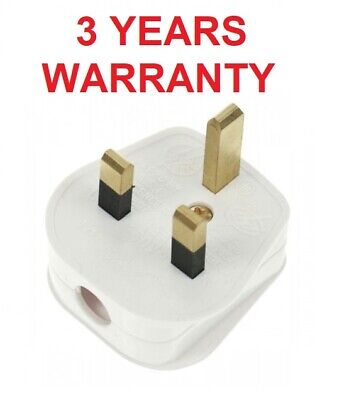 Mains White 3PIN Plastic Socket Plug 13AMP FUSED Fitted BS1362 UK Household 250V • 3.49£