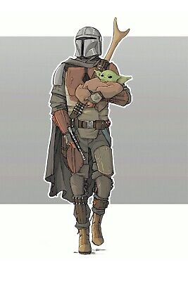 $9.95 • Buy Baby Yoda Being Carried By Mandalorian Poster 12x18 Inches Free Shipping
