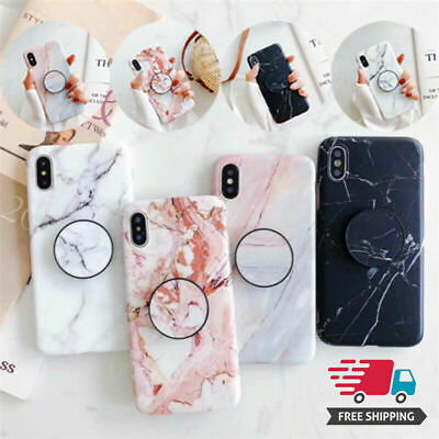 For IPhone 7/8/7Plus/8Plus/X New Phone Soft Cover Marble Case Grip Stand Holder • 4.22£