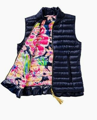 Lilly Pulitzer Cora Puffer Vest, True Navy Blue, Medium/10/12, Quilted, Tassel • 39.99$
