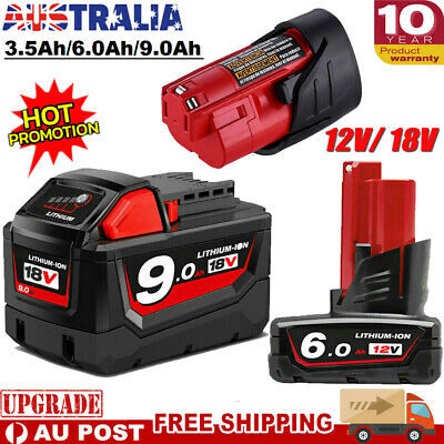 AU14.99 • Buy For Milwaukee 18V XC 9.0Ah M18B9 M18 Battery 12V M12 M12B6 48-11-1860 48-11-2440