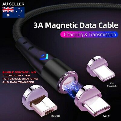 AU11.99 • Buy 3A Fast Charger Charging Cable & Data Cable 3in1 For IPhone Samsung Android