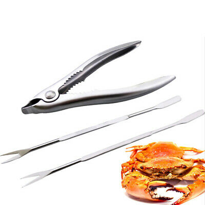 Kitchen Stainless Steel Crabs Seafood Tool Set Forks Three Piece Lobster Cracker • 8.64$