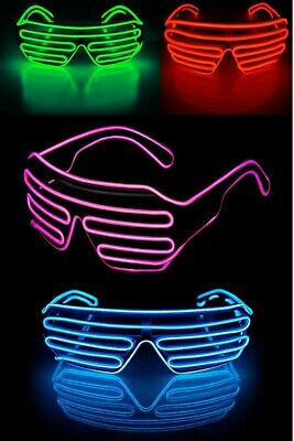LED Glow EL Glasses Shades Light Up Flashing Sunglasses Bar Party Rave Funny Lot • 5.49£