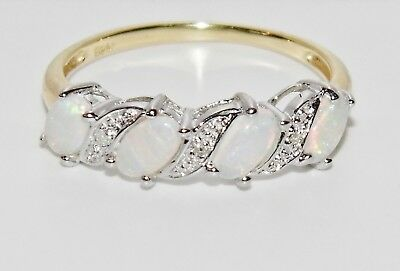 £39 • Buy 9CT YELLOW GOLD & SILVER OPAL & DIAMOND LADIES ETERNITY RING - Size T