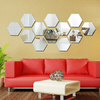 Glass Mirror Tiles Small Mosaic Wall Sticker Self Adhesive Reflective Art Decals • 5.50£