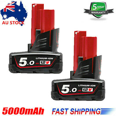 AU60.49 • Buy 2X 12V XC 5.0Ah M12 Lithium Battery For Milwaukee 48-11-2460 48-11-2440 M12B5 AU