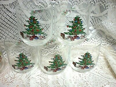 $7.50 • Buy (5) Tienshan Holiday Hostess  ON THE ROCKS GLASSES  Christmas Tree NICE