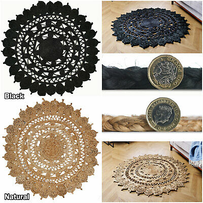New Circle Round Black Natural Jute Durable Thick Dining Rooms Kitchen Room Rugs • 61.99£