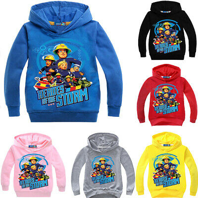 Boys Girls Kids Fireman Sam Cartoon Casual Hoodie Top Long Sleeve Jumper • 12.86£