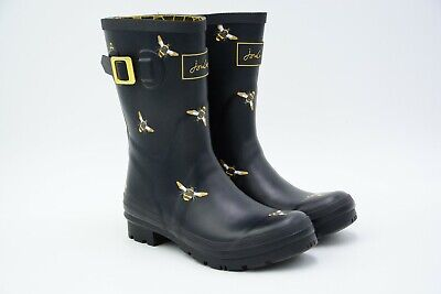 Joules Women's Molly Welly Rain Boot Black Multi Bees Size US 6 M EU 37 Used • 26.95$