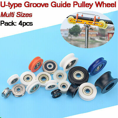 $4.19 • Buy 4PCS Nylon Pulley Wheel Bearing Round U-Groove Ball Wire Rope Guide Roller Tool