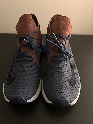 Nike Air Max 270 Flyknit Mens Blue Brown Mesh & Textile Running Trainers Sz: 10 • 129.99$