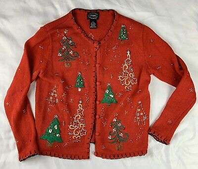 $18 • Buy Vintage Ugly Christmas Sweater Cardigan (Size P)