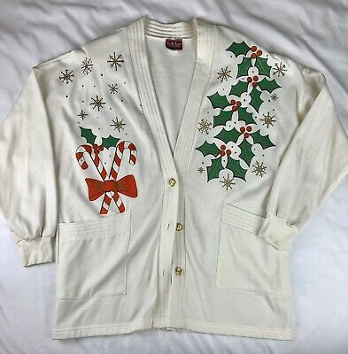 $22 • Buy Vintage Ugly Christmas Sweater Cardigan (One Size Fits All Queen 1X-3X)
