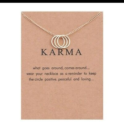 Karma Gold Colour Three Circle Necklace With Gift Card (UK Stock) • 2.49£