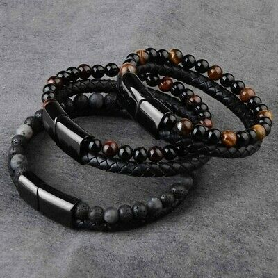 $6.45 • Buy Men Jewelry Natural Stone Leather Magnetic Clasp Black Tiger Eye Bead Bracelet