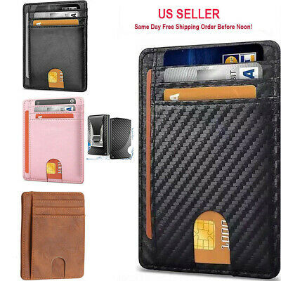 $7.85 • Buy Slim Minimalist Front Pocket RFID Blocking Leather ID Card Wallet For Mens Woman